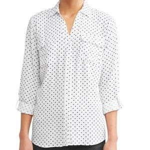 NWOT Alexander Jordan polka dot roll-tab blouse